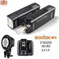 2x Godox карман Открытый Вспышка AD200 Кабриолет Cap 2.4 г Беспроводной 200ws TTL HSS 1/8000 s синхронизации + ad b2 + x1t f для Fuji x pro2, x t20