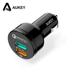 AUKEY For Qualcomm Quick Charger 3.0 9V 12V 2 Port Mini USB Car Charger for iPhone X 8 7 6s Samsung HTC Xiaomi QC2.0 Compatible