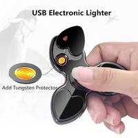 Luminous LED Fidget Spinner Cigarette Lighter USB Electronic Rechargeable Lighter Three Leaf Clover Plasma Arc Lighter