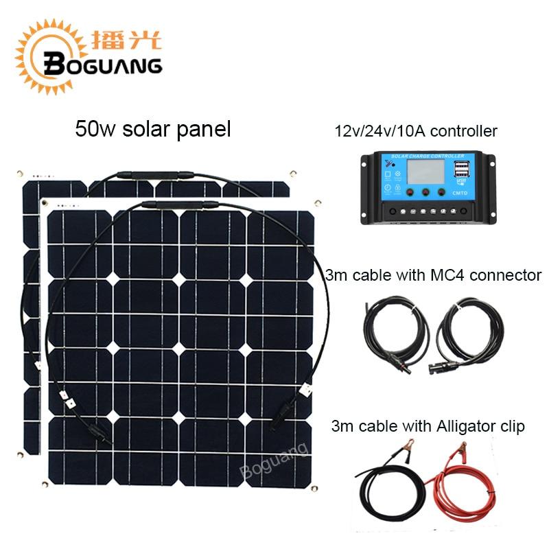 Boguang 50 w panneau solaire 100 w système solaire cellule Monocristallin module 12 v/24 v/10A contrôleur câble MC4 connecteur DIY kit charge