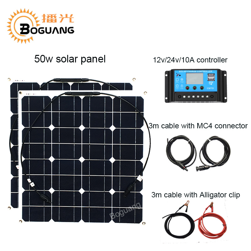 Boguang 50w solar panel 100w solar system Monocrystalline cell module 12v/24v/10A controller cable MC4 connector DIY kit charge 50w diy kits solar panels system 50w flexible solar panel cell 12v 10a solar controller 1 set 3m mc4 cable connector 1 set clip