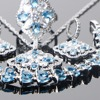 Bridal 925 Sterling Silver Jewelry Sets Blue Zircon  1