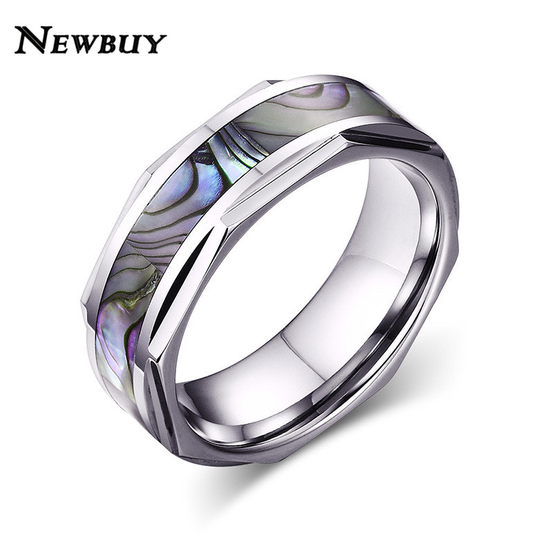 New Brand Luxury Cool Shell Men Wedding Rings 8mm Wide Tungsten Carbide Ring For Party Whole Jewelry In Bands From