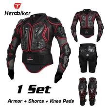 Herobiker мотоциклов Мотокросс Эндуро ATV гонки полный тело Защитное снаряжение протектор Броня куртка + бедра колодки шорты + наколенники