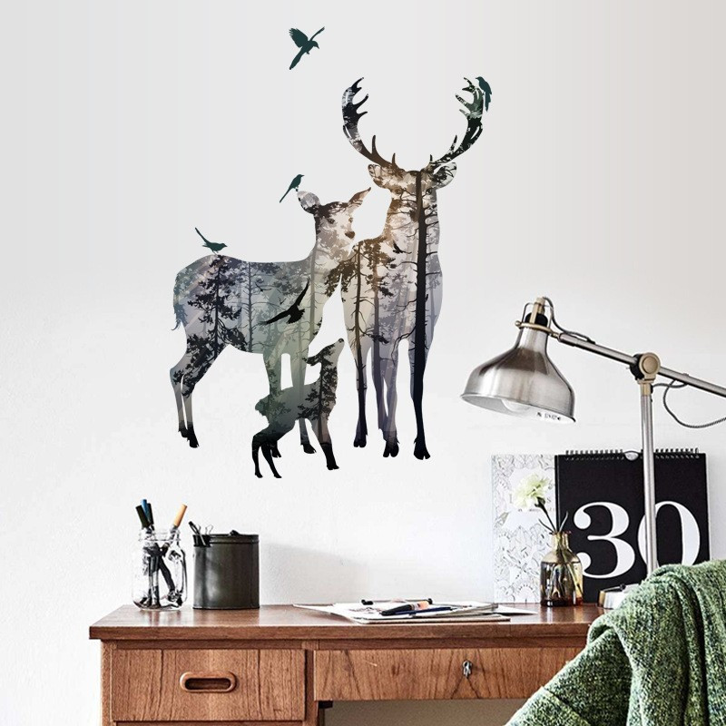 forest deer flying birds wall decals bedroom office home decor pvc wall stickers animal mural art diy posters decoration