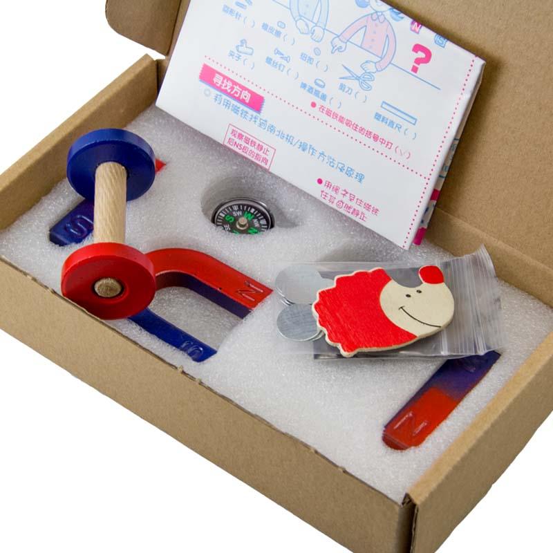 1set Ferrite Magnet Kit Education Science Experiment BAR + HORSESHOE + RING MAGNET +comapass size s kids toy for kids