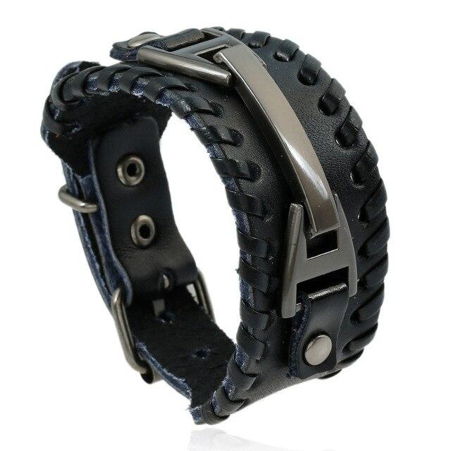 Men Leather Bracelet Punk...