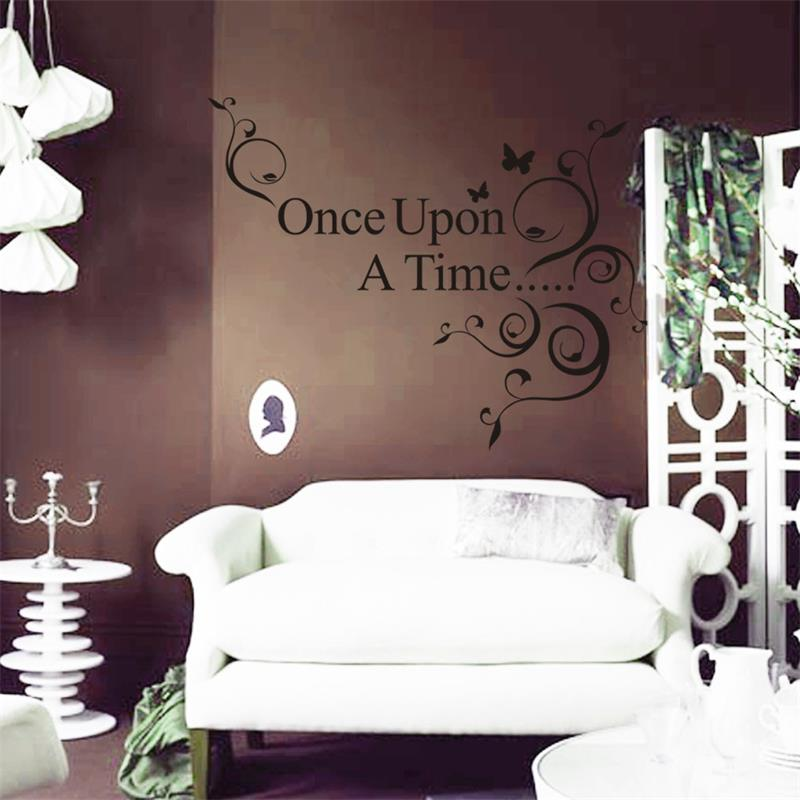 Once Upon A Time Home Decor Part - 21: Once Upon A Time Flower Foral Butterfly Quote Art Wall Sticker Wall Decal  8045. Home Decor Removable Vinyl Wall Sticker 2.5-in Wall Stickers From Home  ...