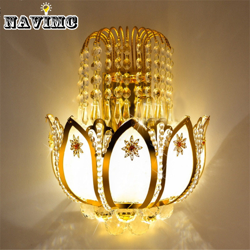 Gold Crystal led Wall Sconces Lamps for Bedroom Living Room Bedside Bathroom Closet Night Light ...