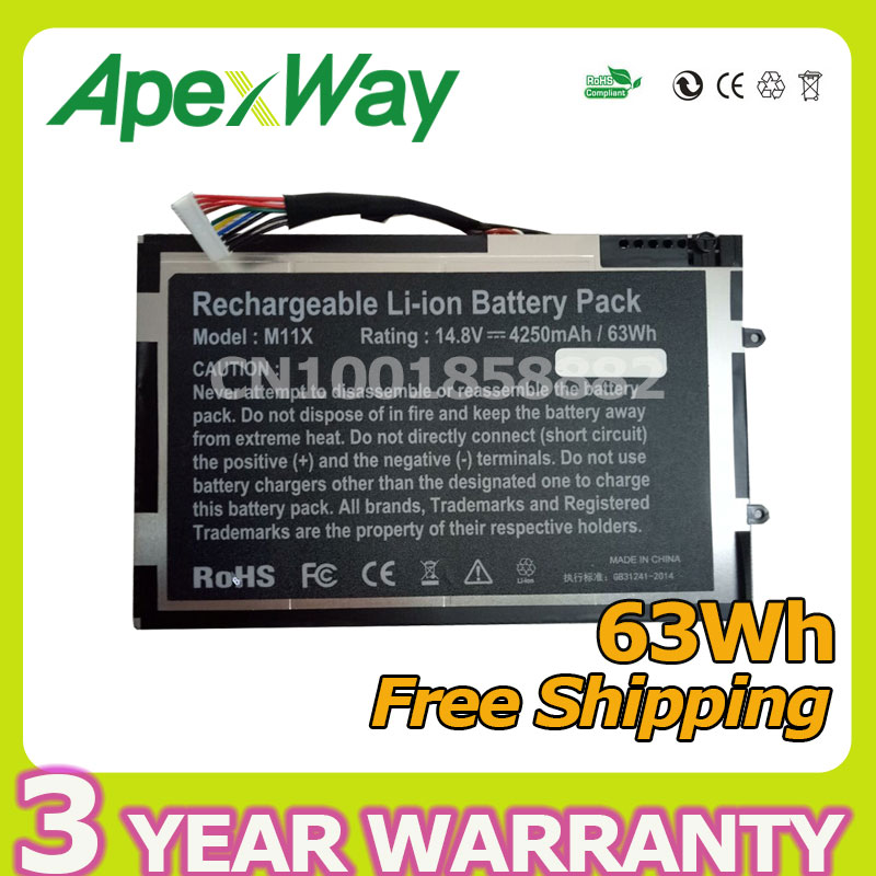 Apexway 63Wh Laptop Battery For DELL Alienware M11X R1 R2 R3 M14x 08P6X6 PT6V8 8P6X6 P06T T7YJ 69wh genuine laptop battery for dell alienware 14 a14 m14x r3 r4 g05yj 0g05yj y3pn0 8x70t alw14d 5528 alw14d 1528 alw14d 4528