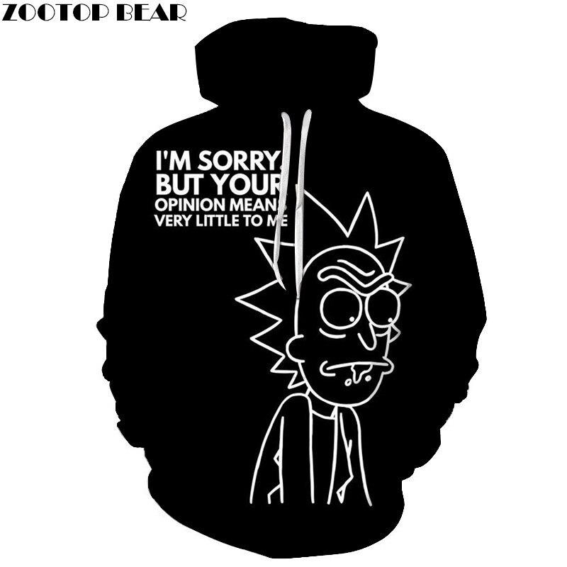 Newest Anime Men Rick and Morty Hoodies Black Casual Unisex Sweatshirts 3D Print Pullovers Streetwears Brand Fashion ZOOTOPBEAR