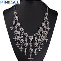 Cabeças do crânio do punk colar colar bib choker declaração cadeia de cristal cruz colar de pingente de esqueleto de metal moda jóias