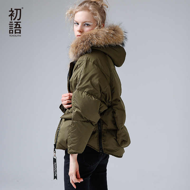 Toyouth Bontkraag Down Light Womens Parka Jas Winter Vrouwen Thicken Warm Hooded Overjas Jassen 80% Witte Eend Donsjack
