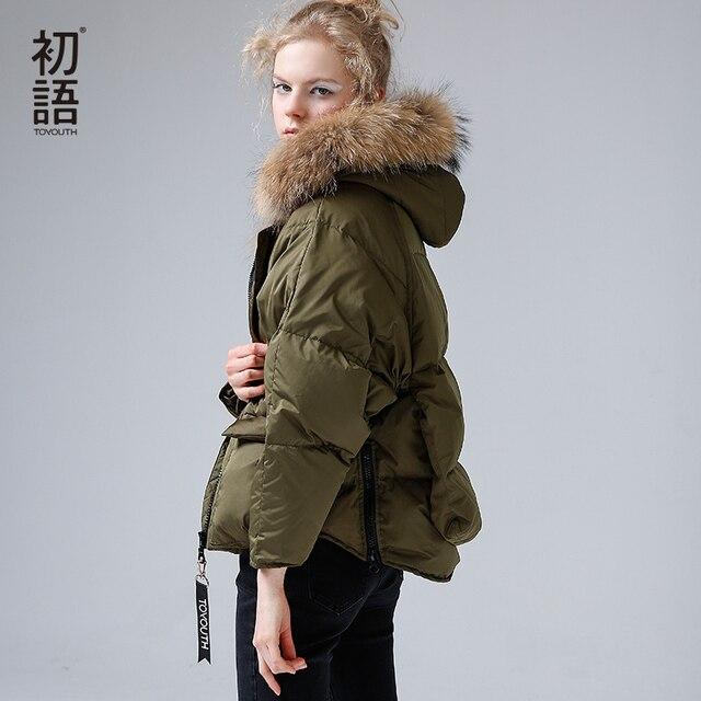 Toyouth Fur Collar Down Light Womens Parka Coat Winter Women Thicken Warm Hooded Overcoat Jackets 80% White Duck Down Jacket
