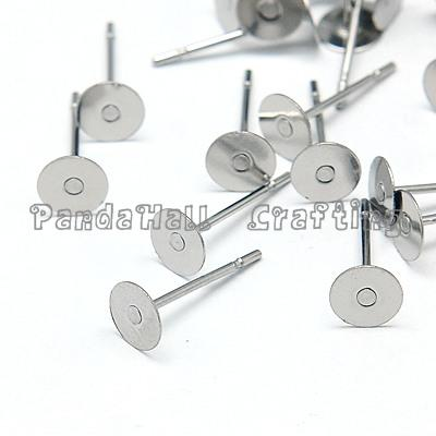 Original Color Stainless Steel Ear Stud Components, 12x4.5mm, Pin: 0.7mm