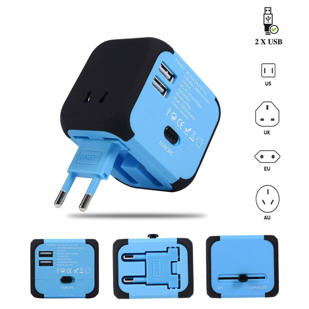 Universal Travel Adapter Electric Plugs Sockets Converter US/AU/UK/EU with Dual USB Charging 2.4A LED Power Indicator