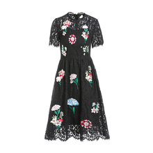 High quality embroidered lace dress New 2019 s[ring summer diamonds black women party A093
