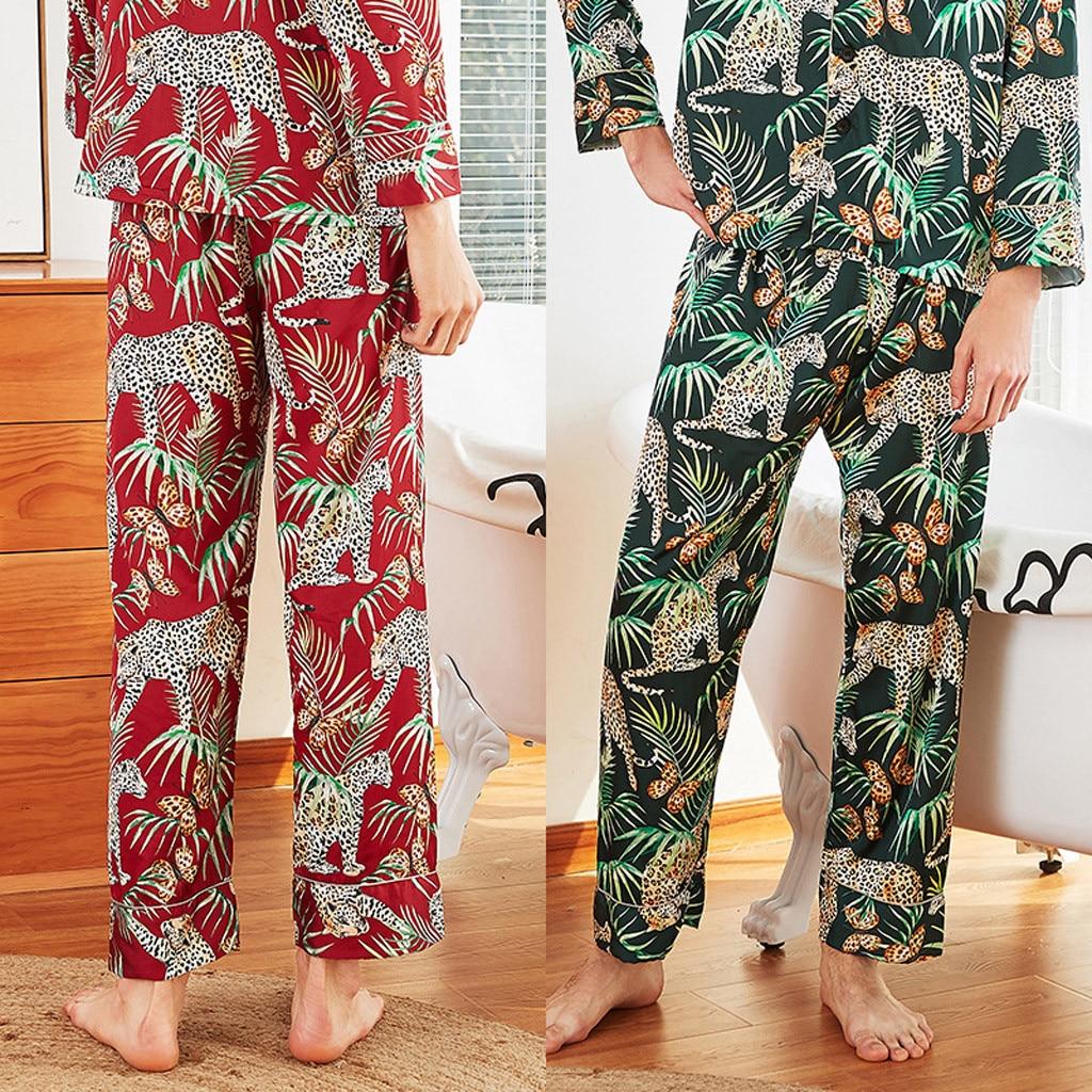 Lingerie Pajamas Sleep-Pants Simulation-Silk Male Print Long