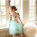 Calidad de Las Tapas de Manga Larga con Estampado floral de Algodón 2-6Y Bebés T-shirt Otoño Invierno Princesa Muchachas de Los Cabritos Ropa de Las Muchachas Camisetas