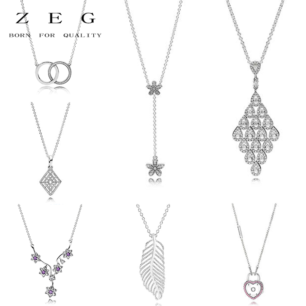 цена на ZEG High Quality 100% Sliver Official Copy 1:1 Pan Cascading Charm Necklace Have Logo Women Fashion Jewerly Free Mail