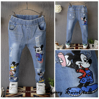 Children S Ripped Jeans Child Jeans Spring Fashion Girls Cartoon Hole Skinny Pants Boys Casual Long