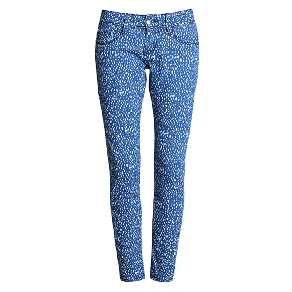 ФОТО Women Vintage Tie Printed Mid Waist Plus Size Trouser Casual Stretch Slim Fit Pencil Jean Pants