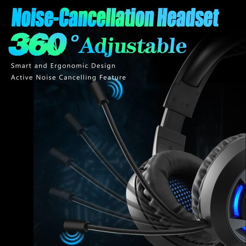 תאורה אחורית Gaming סטריאו אוזניות גיימר אוזניות עמוק בס Wired אוזניות עם מיקרופון תאורה אחורית עבור מחשב נייד PC PS4 טלפון X-BOX 7.1 ערוץ Hifi (5)