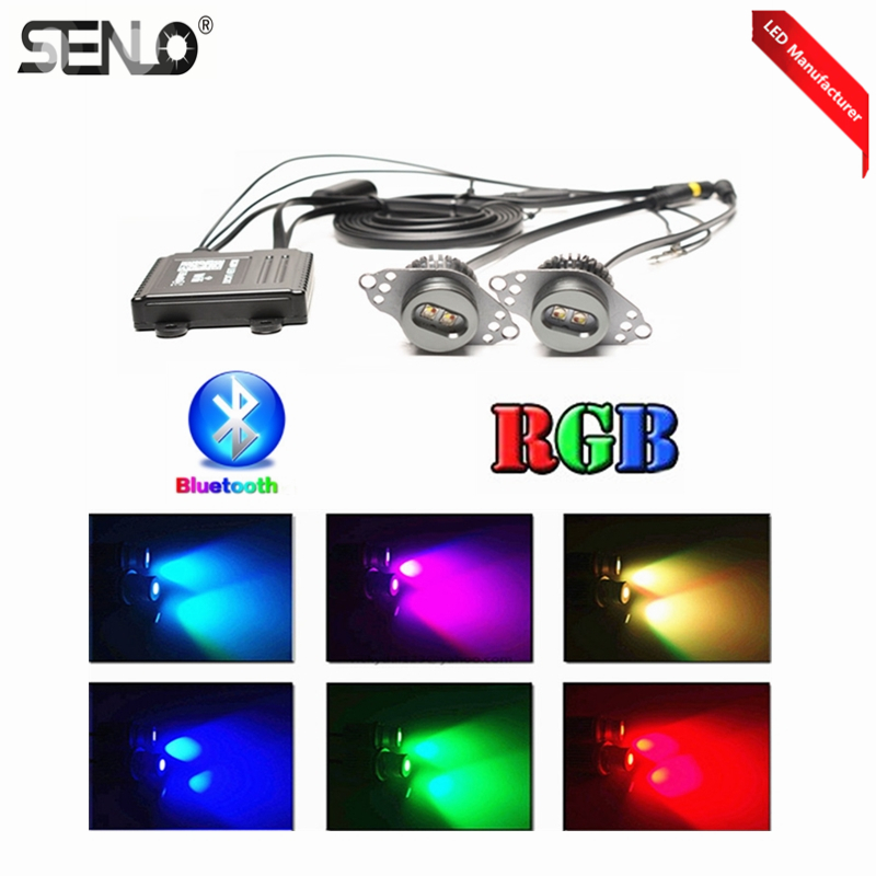 Senlo 12V 6000k Car Lamp Bulb LED Halo Rings For BM W E90 2PCS Packing Mobile App Bluetooth Control Color Changing RGB Angel Eye image