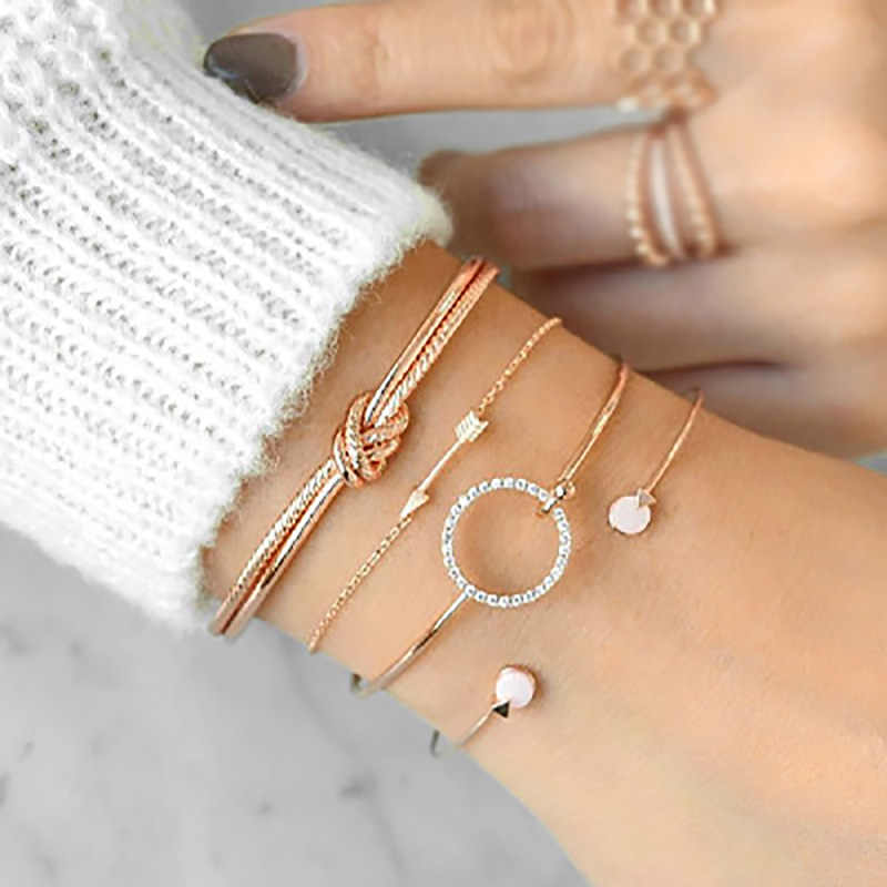 4 pcs/set Cuff Bangle Set Gold Silver Color Knot Arrow Open Bracelet Women Link Chain Crystal Round Circle Accessories Jewelry
