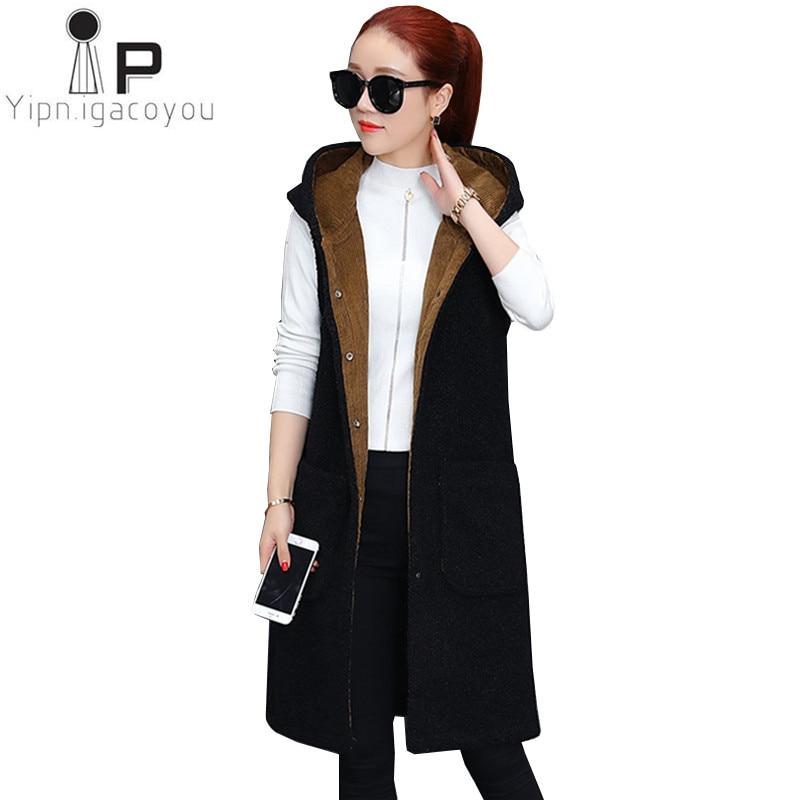 eea1d535b027f0 Winter Long Vest Women Waistcoat 2018 Plus size Lamb Cashmere Sleeveless  Cardigan Elegant Warm Hoodies Black Coat Women Clothes