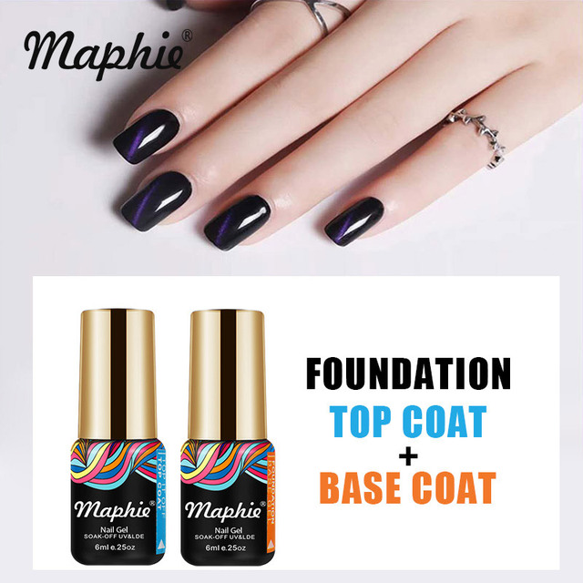 Maphie 2pcs Lot Base Coat Top Uv Nail Gel Polish Soak Off