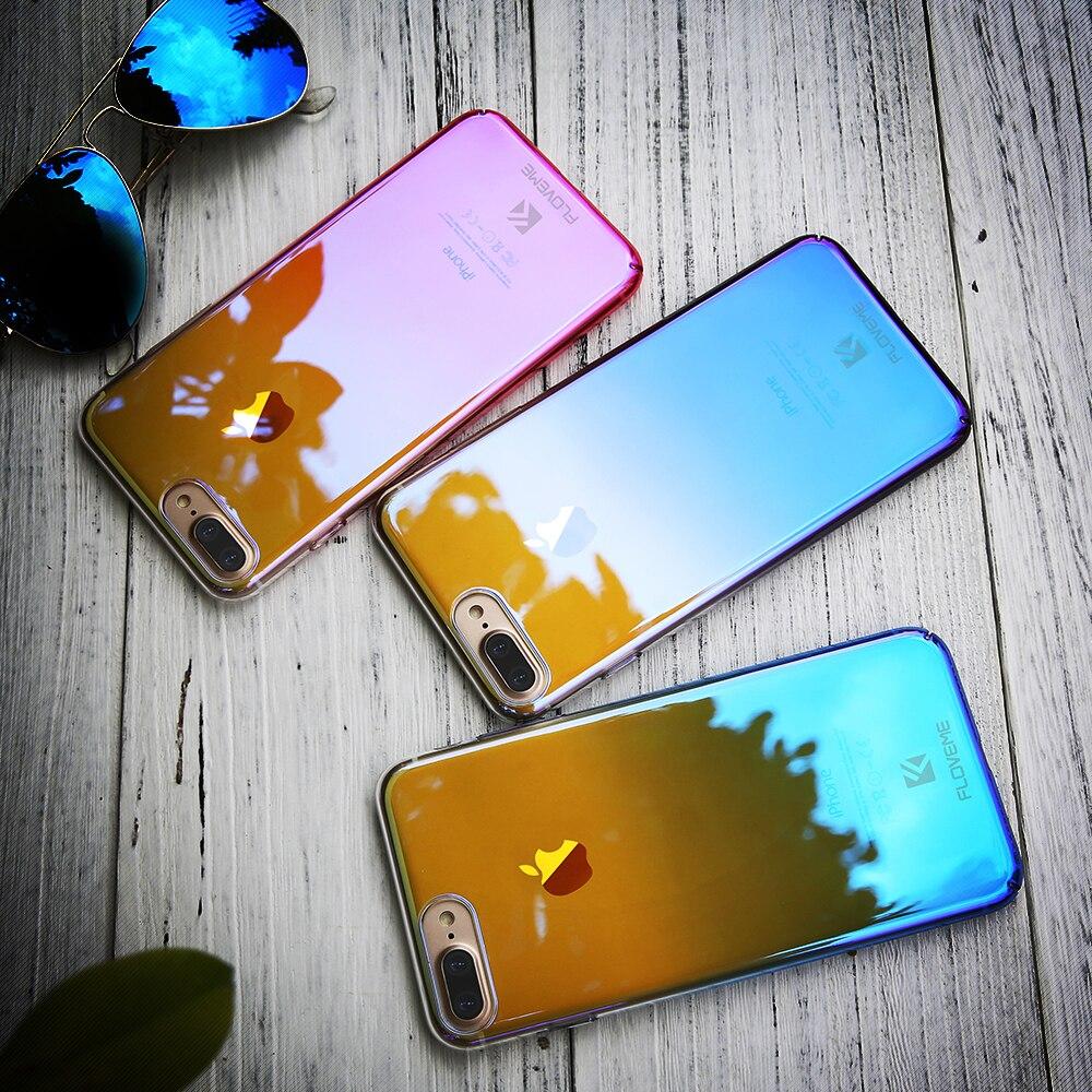 Floveme rayo azul degradado cajas del teléfono para iphone 5 5s se 6 7 6 s más c