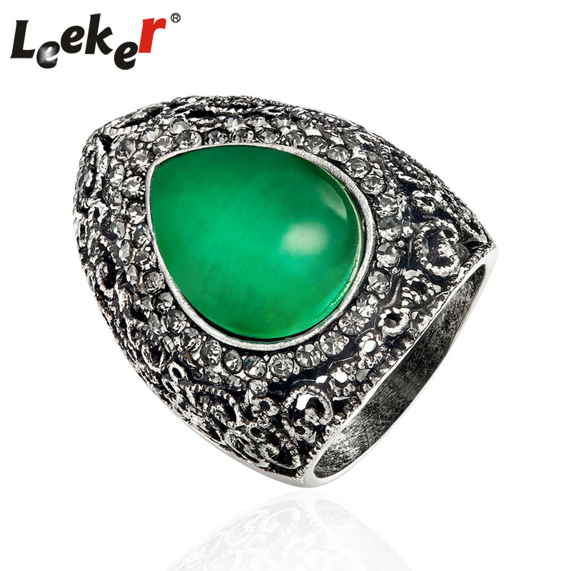 LEEKER Vintage Water Drop Opal Big Green Rings For Women Antique Silver Color Female Retro Party Jewelry 93152 LK8