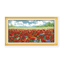 Poppies sea large-scale manual needlework live embroidery cross-stitch painting plants flower embroidery crafts paintings(China)