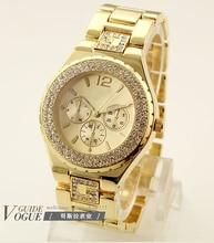 Nouveau 2013 Arrivées femmes strass montres alliage GENÈVE Montres femmes analogiques numériques montres horloge rose montres en or