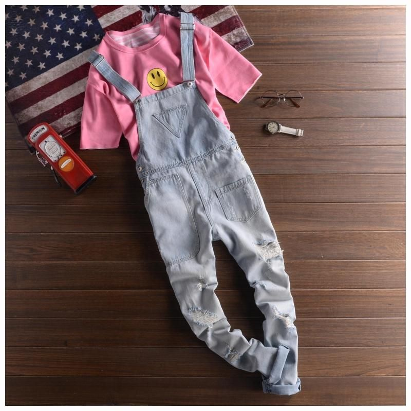 Fashion Ripped Denim Bib Overalls Casual Distrressed Jeans Jumpsuit Jeans cargo Pants For Man vintage Suspenders Trousers 063002 mens distressed jeans ripped jumpsuit denim overalls men baggy cargo pants with suspenders denim bib overalls for men 260