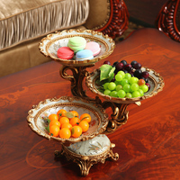 European Large Multilayer Fruit Plate Compartment Tray Dessert Plate Dry Fruit Snacks Living Room Decoration Candy