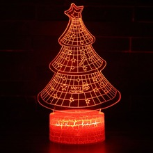 3D illusion Visual Night Light 7 Colors Change LED USB Table Lamp Bedroom Merry Christmas Tree Decoration Gift