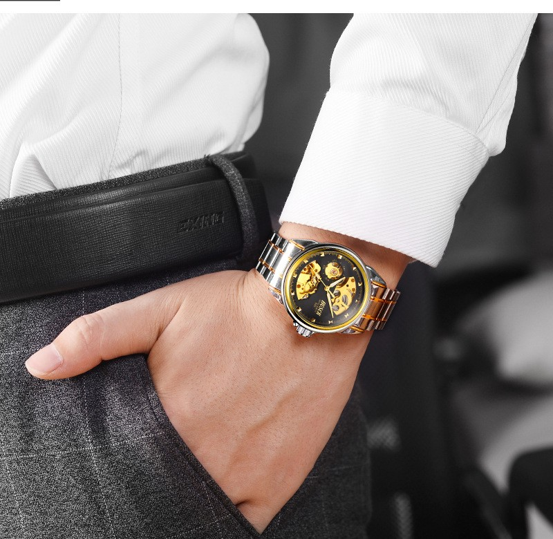 HTB1RIZWboGF3KVjSZFvq6z nXXan Men's Watches Automatic Mechanical Gold Watch Male Skeleton Dial Waterproof Stainless Steel Band Bosck Sports Watches Self Wind