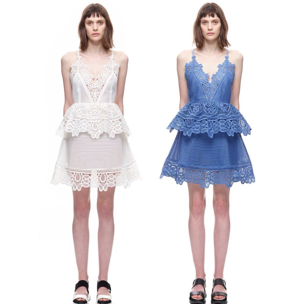 c0192c0f2a1b8 Vestidos 2016 self portrait Blue White Lace Trimmed Peplum Mini A Line  Short Dress with Strap Strappy Back Detail Free Shipping-in Dresses from  Women's ...