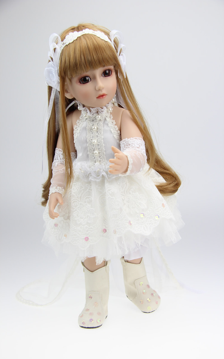 2015 New 45cm Lifelike SD/BJD Vinyl Reborn Baby Doll Toys Handmade White Princess Dress Baby Home Doll The Wedding Gift syoss