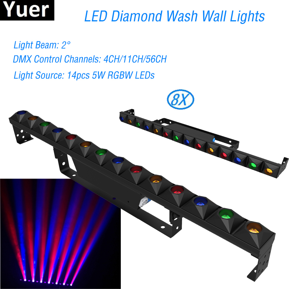 8Pcs/Lot LED Wall Washer Lamp LED Bar 14x5W RGBW 4IN1 Party Disco Mirror Light For Landscape Wash Stage Lighting Effect Lights