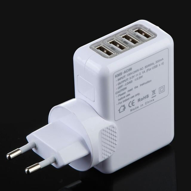4 port usb wall charger us eu uk au plug adapter 5v 2.1A