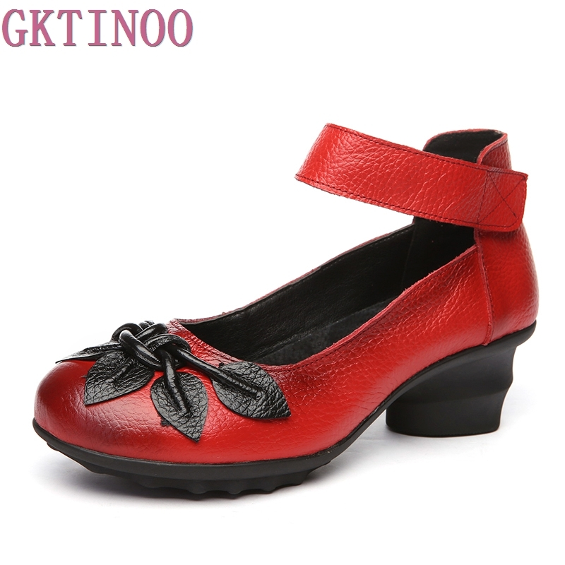 2018 Handmade Women Shoes High Heels Genuine Leather Women Pumps Flower Thick Heels Vintage Style yaerni 2017 retro style women shoes flats platform handmade flower genuine leather thick heels round toe women causal shoes