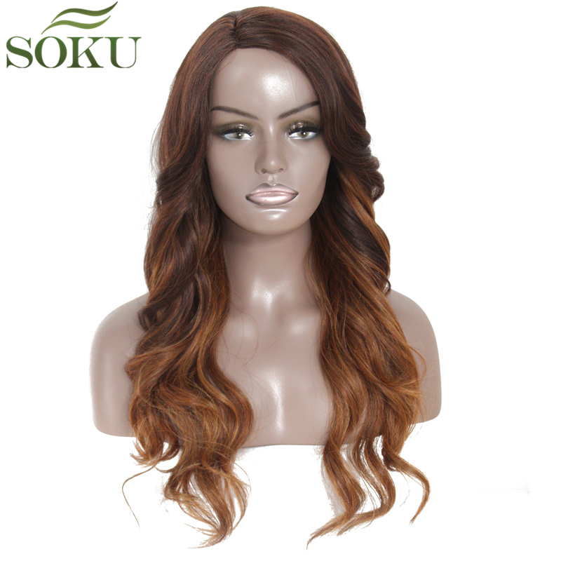 Ombre Brown Synthetic Lace Wigs With Bang Side Part Long Wave Wigs For Black Women Glueless Heat Resistant Fiber Wig SOKU(China)