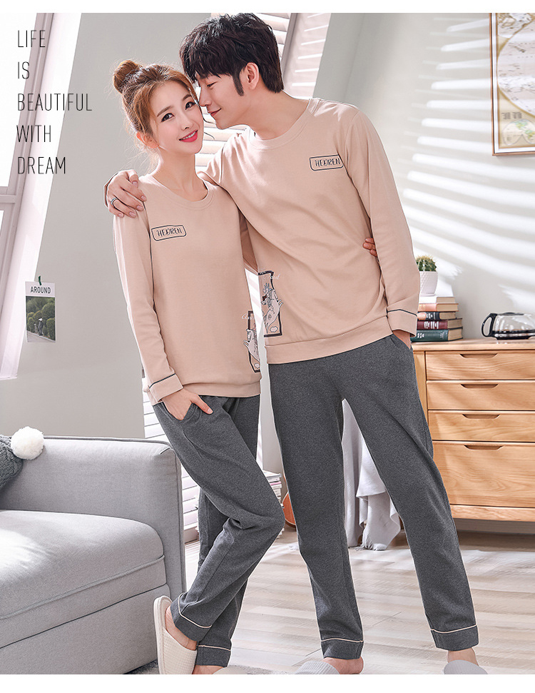 992e55205f Matching Couple Pajama Set Cotton Pijamas Long Sleeve Sleepwear His and her  Home Suit Pyjama For Lover Man Woman Lovers  Clothes-in Men s Pajama Sets  from ...