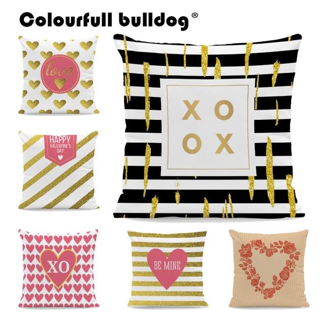 Happy Valentines Day Velvet Pillow Black And White Geometry Stripe