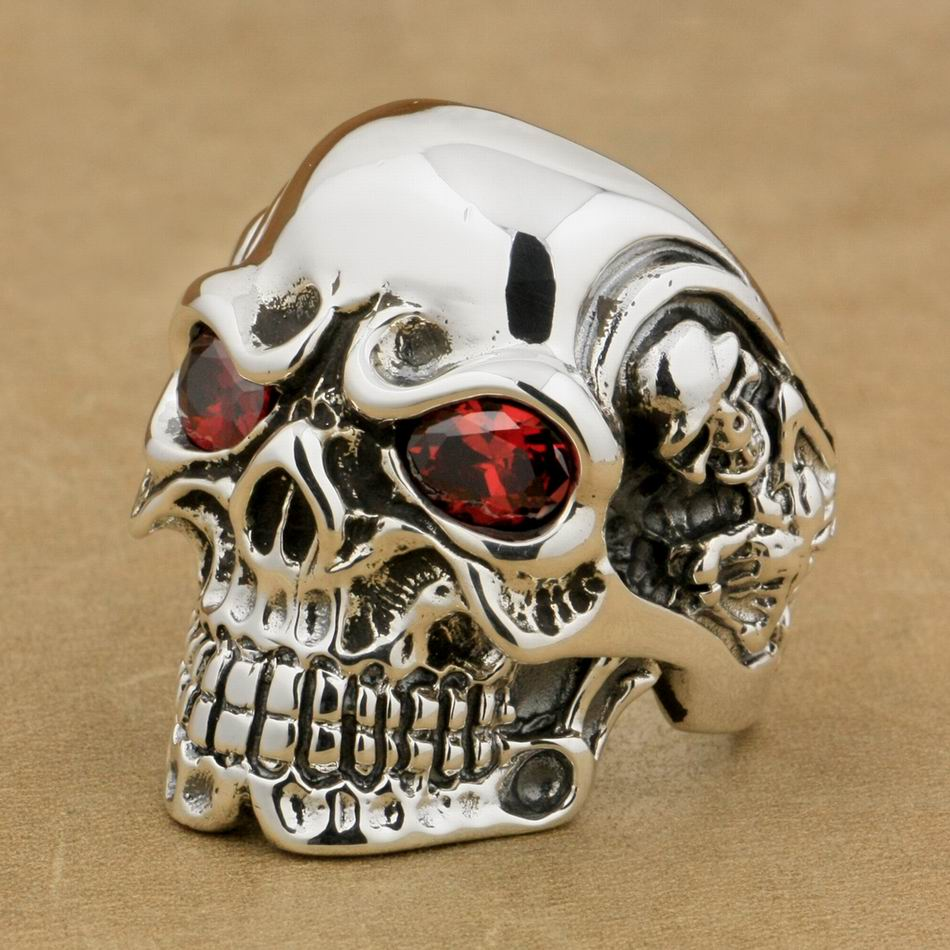 LINSION Solid 925 Sterling Silver Titan Skull Red CZ Stone Eyes Mens Biker Punk Ring sterling