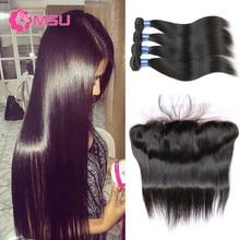 Stema Hair with Frontal Closure 7A Virgin Brazilian Hair Weave Bundles with Frontal 4PCS Brazilian Straight Hair with Closure