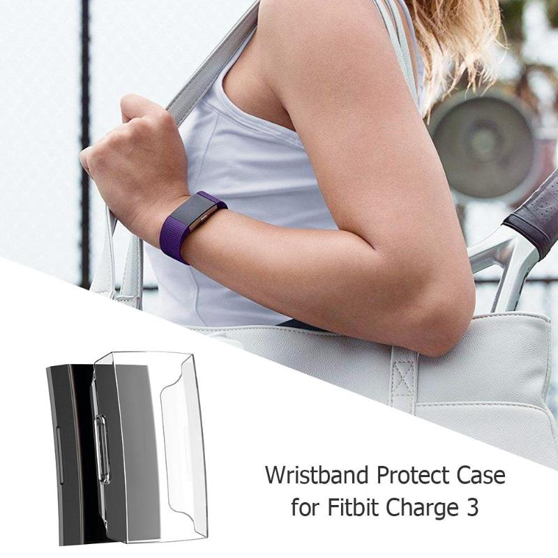 Ultra-thin Soft PC Wristband Screen Protection Case Cover Frame Shell  Replacement for Fitbit Charge 3